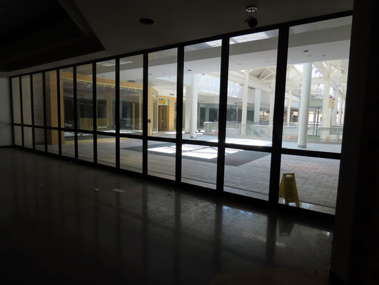 2nd Floor Glass & Metal Mall Entrance Doors (40' Wide), Accordion Style.