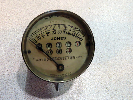 Antique Jones Brass Speedometer - Patented 9/22/1908.