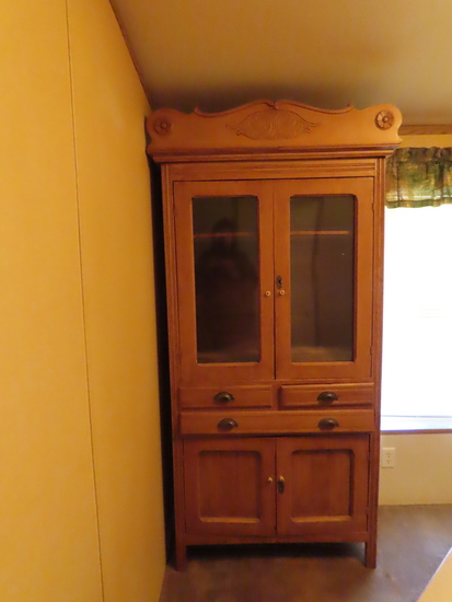 Antique 2-Door Wood Pie Cabinet.