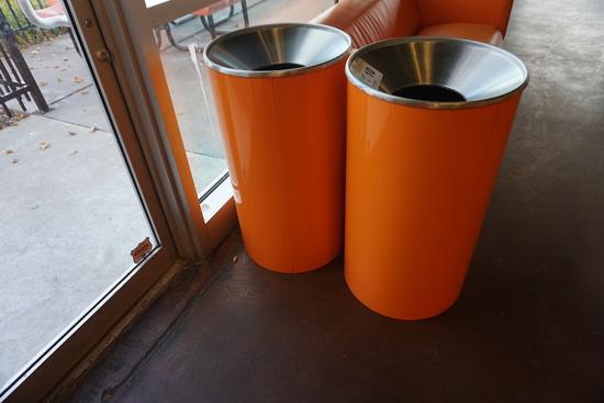 (2) Metal Trash Cans.