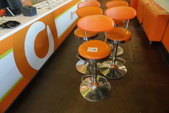 (5) Orange Padded Back & Seat Bar Stools (Some have damage to backs-refer t