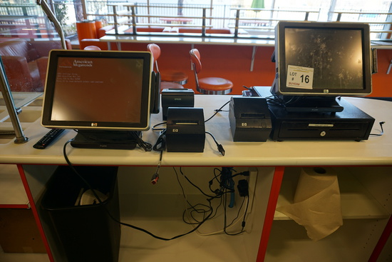 HP Point of Sale System, (3) Receipt Printers, (1) Register Drawer.