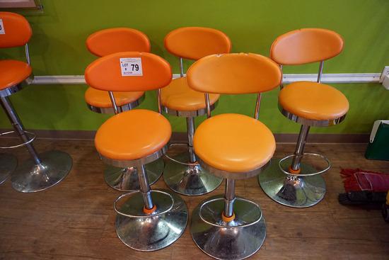 (5) Orange Bar Stools with Padded Seats & Backs.