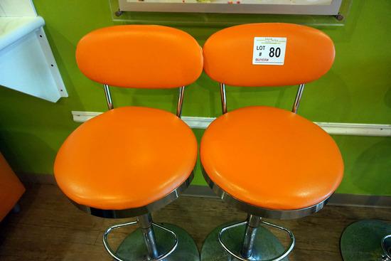 (2) Orange Bar Stools with Padded Seats & Backs.