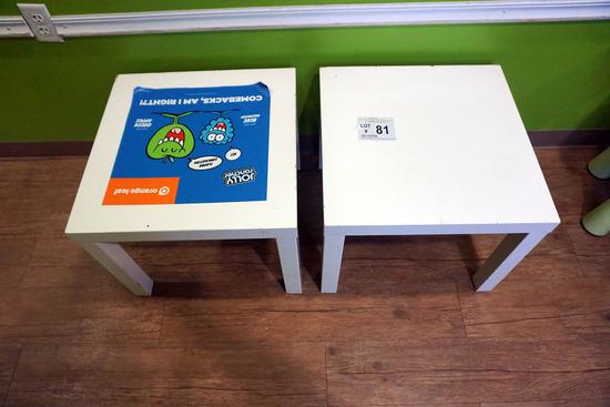 (2) White Plastic Square Kids Tables.