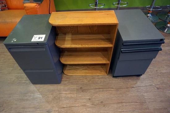 (2) Metal File Cabinets, Wooden Shelf.