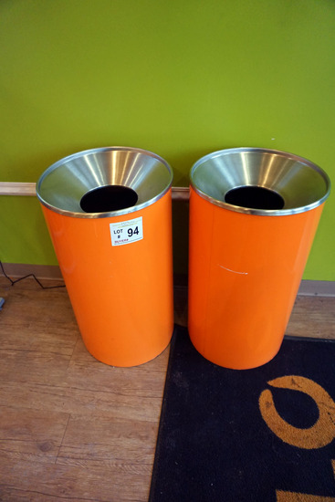 (2) Orange Metal Trash Cans.