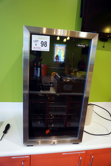 Danvy Small Apartment Size Refrigerator with Glass Door.