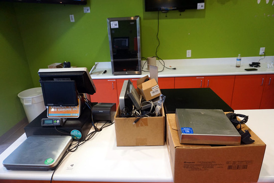 HP Point of Sale System with (2) Monitors, (3) Cash Drawers, (2) Scales, (1