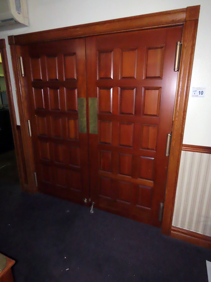 Double Swinging In/Out Solid Oak Doors (Buyer Responsible for Removal).