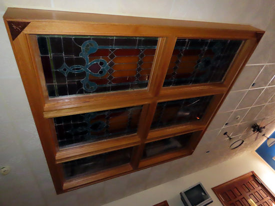 6-Panel Stained Glass Light Fixture with Oak Frame, Approx. 10' x 10' (Moun