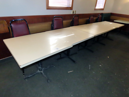 (5) Single Pedestal Tables with (20) Padded Stacking Chairs (5x$)
