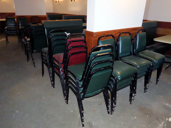 (39) Stacking Padded Chairs - (7) Maroon & (32) Green.