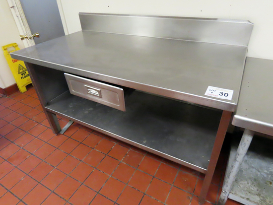 5' Stainless Steel Work Table with Lower Stainless Steel Shelf & Center D