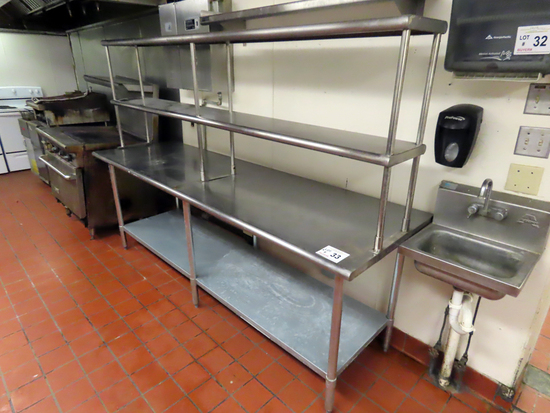 8' Commercial Stainless Steel Work Table with Stainless Steel Lower Shelf