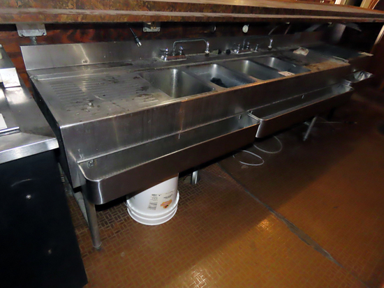 "Commercial Stainless Steel 4-Tub ""Under Bar"" Sink with Faucets, Dual Dr"
