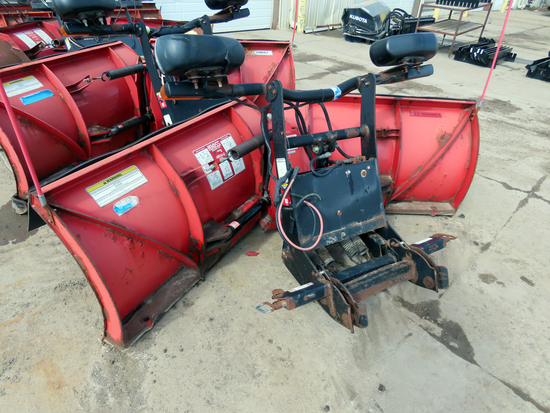 "Boss 8'2"" V-Plow Front Mount Snow Plow, SN# 71176, Hydraulic Lift & V-Angle, Light Kit, Powder"