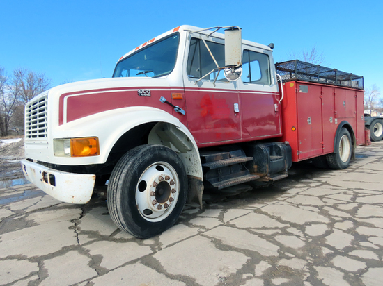1999 IHC Crew Cab Model 4700 Service Truck, VIN#1HTSCABM5XH215524, 145,423 Miles, 7,387 Hours, T444E