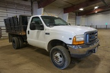 2001 Ford Model F-350 XL 1-Ton Dually 4x4 Dump Truck, VIN# 1FDWF37571EA68779, Triton V-10 Gas Engine