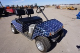Club Car Electric Golf Cart, 2-Seater, No Canopy, Charger, Polished Aluminum Wheels, Vinyl Wrapped.