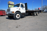 2000 IHC Model 4900 Conventional Tandem Axle Flatbed Truck, VIN# 1HTSDAAN8YH263236, DT466E Turbo