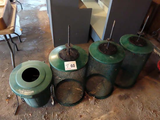 (3) Trash Cans with Ground Spikes, (1) Range Mate Club Washer