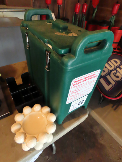 Cambro Beverage Container, (2) Golf Ball Ash Trays & Napkin Holder