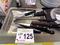 Box of Kitchen Knives & Sharpening Steel.