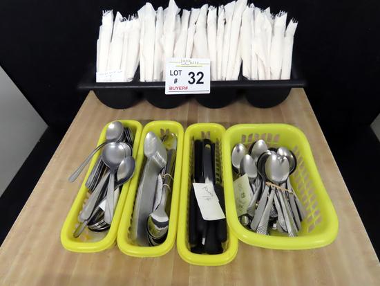 (166) Forks & Knife Wrapped Sets, (50) Teaspoons, (14) Steak Knives, (48) Long Iced Tea Spoons,