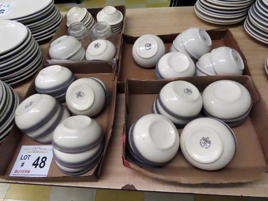 (41) Stoneware Bowls & (14) Stoneware Ice Cream Dishes & (4) Clear Bowls.