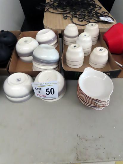(15) Soup Bowls, (14) Soup Cups, (9) Casserole Plates.