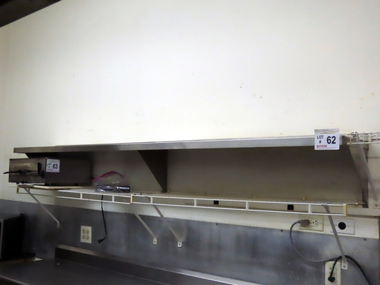 8' Commercial Stainless Steel Wall Shelf, 8' Wire Shelf & 2' Wire Shelf.