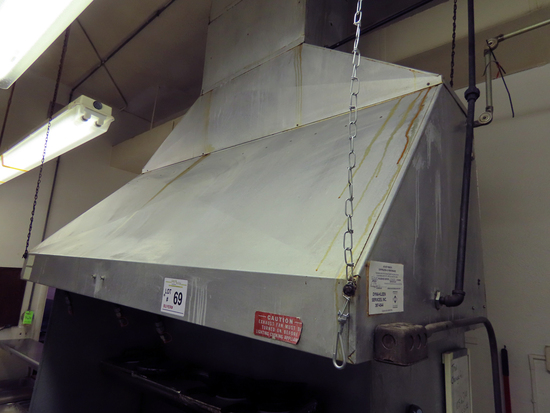 """Commercial Stainless Steel Exhaust Hood, 6' Wide, 34"""" Deep, 30"""" Tall, Remov"""