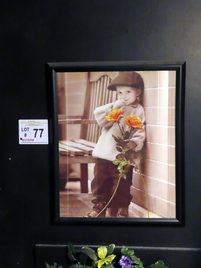 Wall Portrait of Young Boy with Roses.