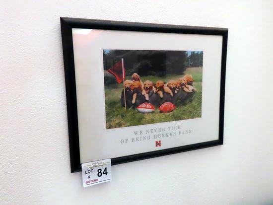 "Nebraska Print Titled ""We Never Tire of being Husker Fans""."