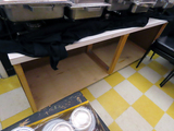 7' Homemade Serving Table on Wheels with Laminate Top.