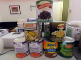 (7) Large Cans of Food Products: Green Beans, (2) Crushed Tomato's, Chili B