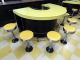 U-Shaped Retro Counter with Built In Ice Bin, Stainless Foot Rail, Interior