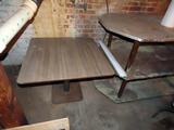 Single Pedestal Laminated Top Table, 3-Shelf Wood Display Shelf.