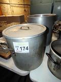 (2) Large Aluminum Cook Pots (1 with Lid).