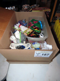 Large Box of Baking Items: Cookie Cutters, Measuring Equipment, Jell-O Mold