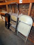 (6) Folding Chairs, Step Stool.