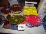 (5) Piles of HD Plastic Bowls, Platters, Etc.