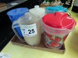 (5) 1-Gallon Plastic Water Pitchers.