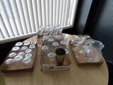 Large Lot of Glassware: (16) Water Glasses, Glass Pitcher, Mixer Cup, (24)