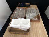 (3) Boxes of Glass Snack Set Dishware-Cups Saucers, Bowls, (1) Box of Small