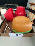 Box of Plastic Bowls, (2) Meat Thermometers.