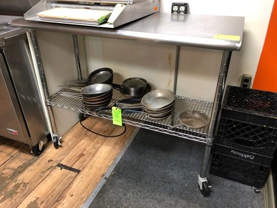 SS Rolling Prep Table w/ Wire Undershelf