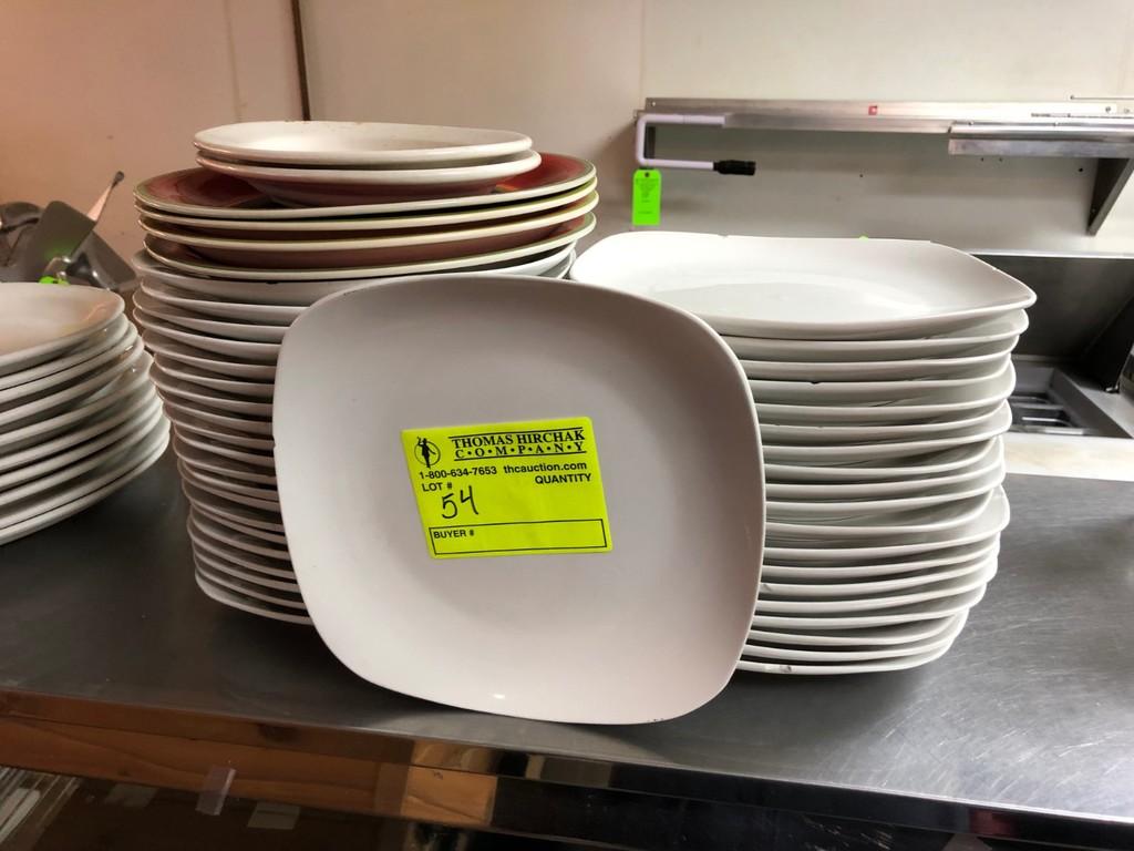 "(40) White China 9.5"" Dinner Plates"