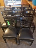 (8) Ladder Back Vinyl-Upholstered Dining Chairs